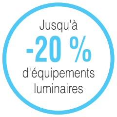 Jusqu'à -20% d'équipements luminaires
